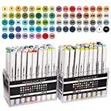 Finecolour 72 Art Markers Dual Tips Fine and Chisel Tip Markers Basic Sketch Marker Set for Drawing Manga Cartoon Illustration Highlighting (Color: 72 Colors)