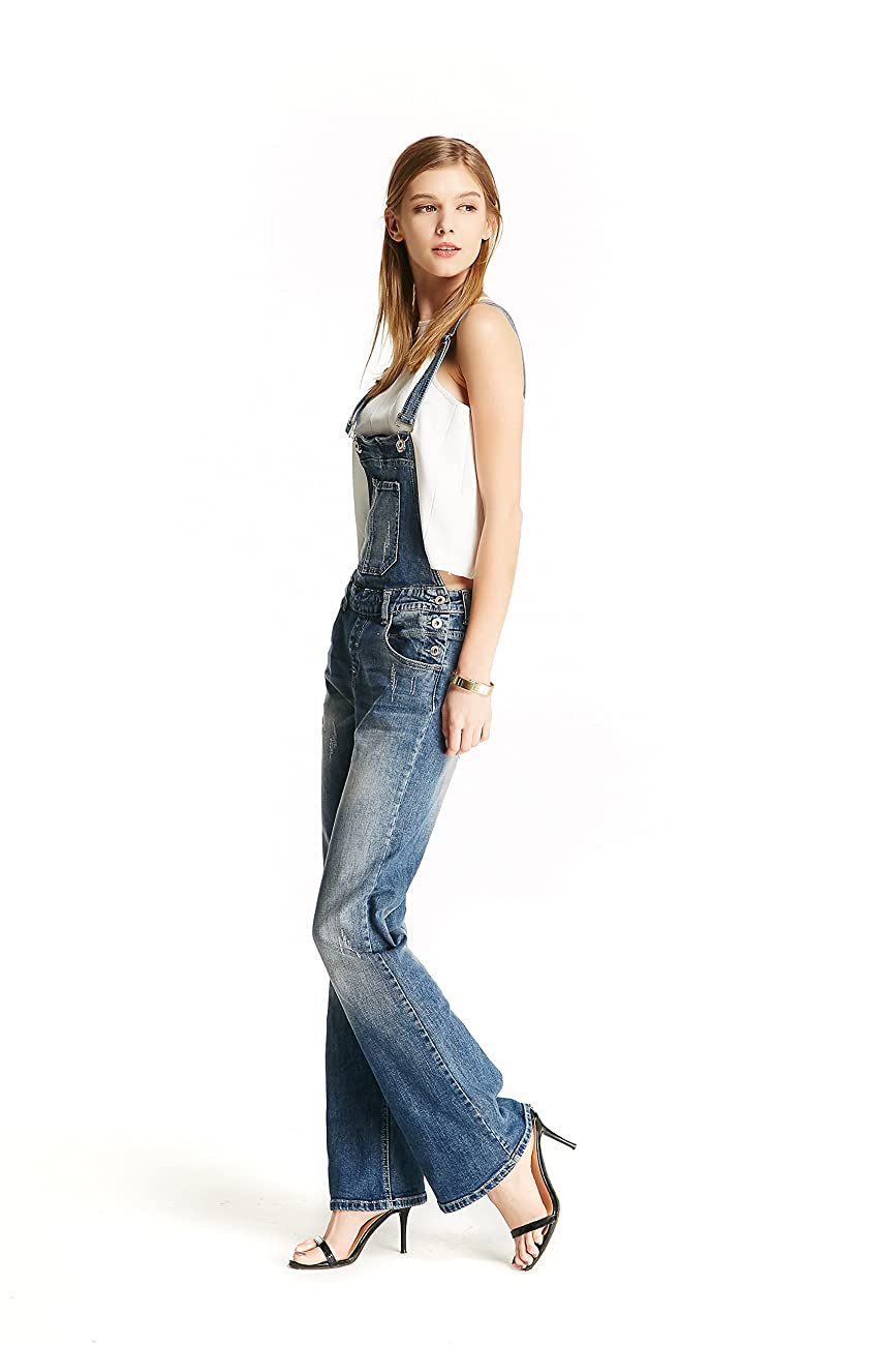 Track Seven Women's Relaxed Fitted Vintage Flare Denim Overalls Blue 3