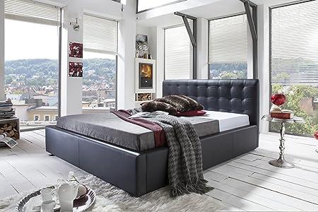 Bett Isabel Doppelbett Hotelbett Kunstleder schwarz 140/160/180x200cm 01677 (160x200, Farbänderung)
