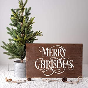Merry Christmas Stencil - Perfect Stencil for Painting Wood Signs - Reusable Stencils for Christmas with Fast Shipping (Tamaño: 18x12)