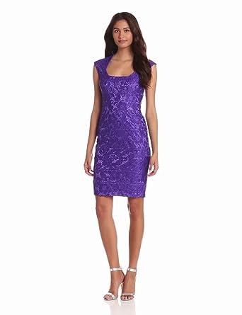 Jax Women's Lace Dress With Cap Sleeve, Wisteria, 2