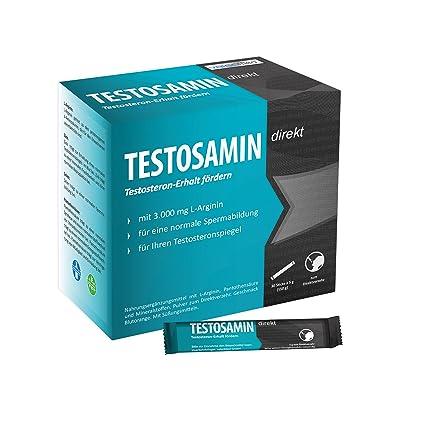 TESTOSAMIN direkt, 30 Sticks, 3.000 mg L-Arginin, direkte Einnahme ohne Flussigkeit, mit Zink fur Ihren Testosteronspiegel, Selen fur die Spermienqualität, Manneskraft, Nahrungsergänzungsmittel