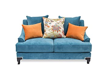 Furniture of America Cyanna Love Seat, Peacock Blue