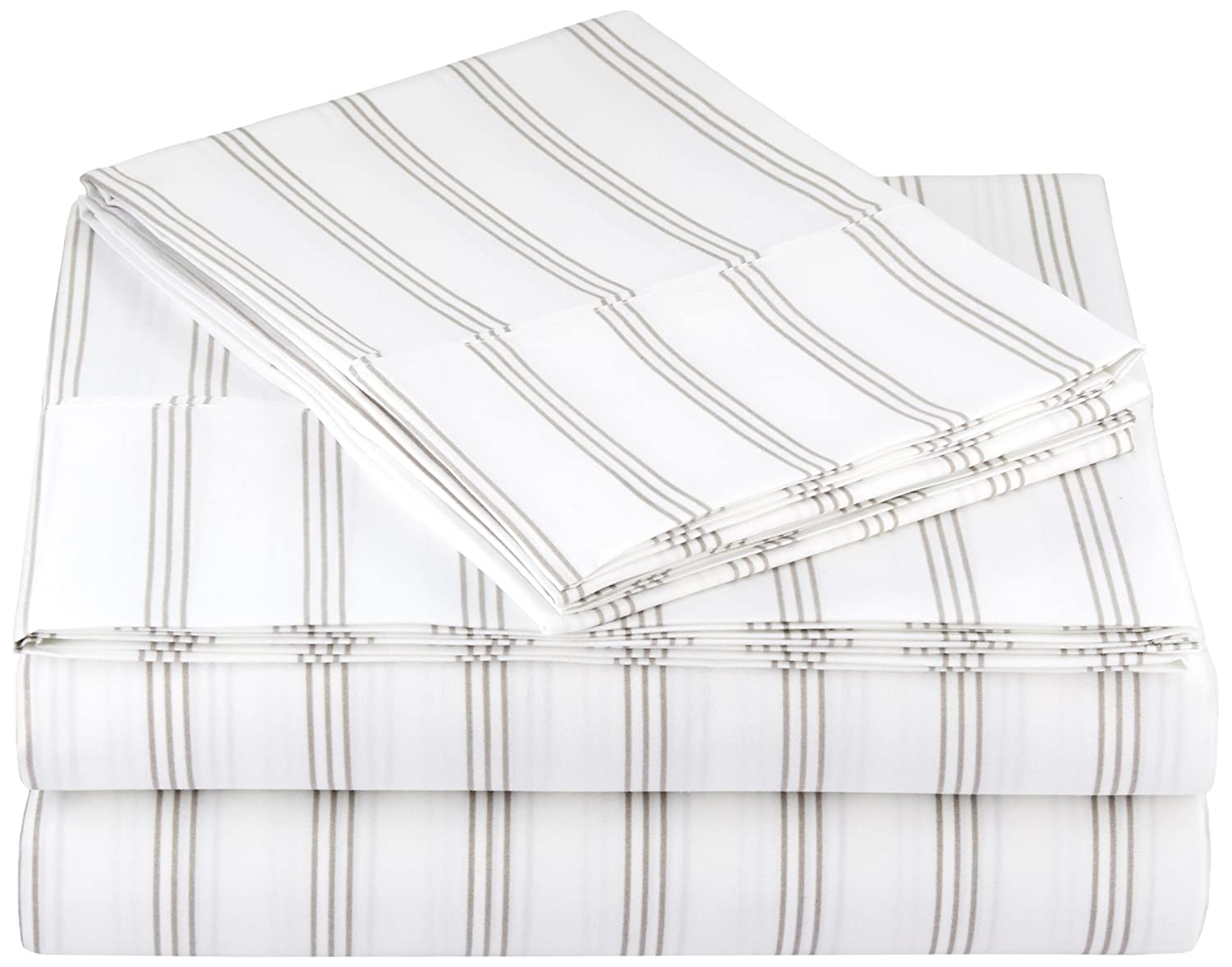 AmazonBasics Microfiber Sheet Set - Queen, Grey Stripe