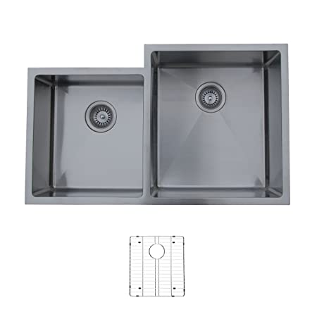 Ukinox RS420.60.40.10R.G Modern Undermount Double Bowl Stainless Steel Kitchen Sink with Bottom Grid