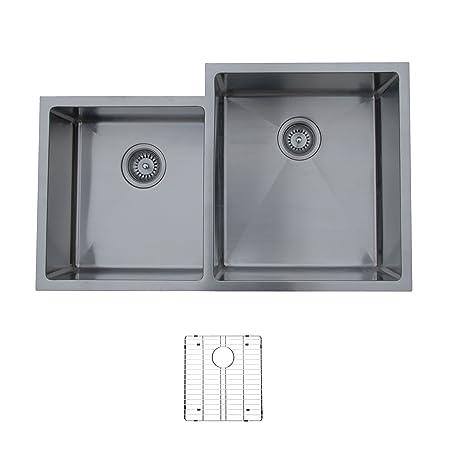 Ukinox RS420.60.40.10R.G Modern Undermount Double Bowl Stainless Steel Kitchen Sink with Bottom Grid