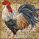 Square Throw Pillow Case Decorative Cushion Cover/Case Zippered Pillowcase With Vintage Rooster Art 18 X 18 Inch(Twin Sides)