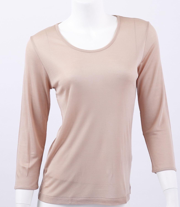 【シルク100%】〈リブ編み〉シルク8分袖Tシャツ【シンプルなデザインで人気のシリーズ】