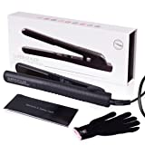 Herstyler SuperStyler Onyx Ceramic Flat Iron, Hair Straightener with Adjustable Temperature Upto 500ºF for All Hair Types, 1.25 Inch, Black