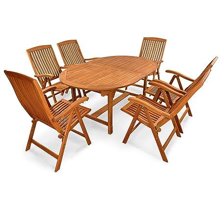 indoba® IND-70010-SFSE7 - Serie Sun Flair - Gartenmöbel Set 7-teilig aus Holz FSC zertifiziert - 6 klappbare Gartenstuhle + ausziehbarer Gartentisch