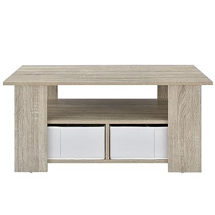 [en.casa] Tavolino da salotto (90 x 50 x 41 cm) impiallacciato (rovere) Cassetti contenitori (bianchi - effetto lino) con scomparti a giorno e scatole portaoggetti