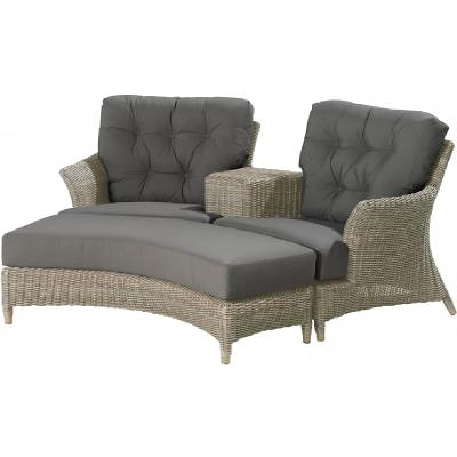 4Seasons Outdoor Valentine Fußhocker für Loveseat Polyrattan pure