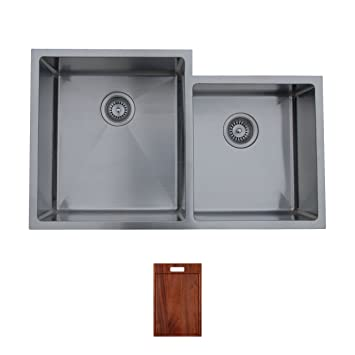 Ukinox RS420.60.40.10L.C Modern Undermount Double Bowl Stainless Steel Kitchen Sink with Cutting Board