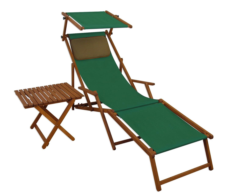 Sonnenliege Gartenliege Deckchair Saunaliege mit Dach + Fußteil + Tisch Braun bestellen