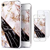 iPod Touch 7 Case with 2 Screen Protectors, IDWELL iPod 6 Marble Case, iPod 5 Case, Slim FIT Anti-Scratch Flexible Soft TPU Bumper Hybrid Shockproof Protective Cover, Geometric Black White Marble (Color: Geometric Black White Marble)
