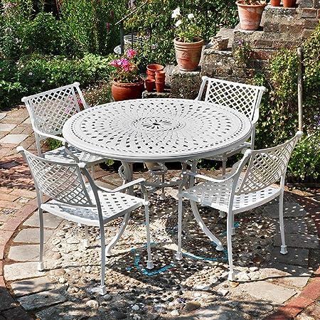Lazy Susan muebles - Alice 120 cm redondo 4 plazas muebles de aluminio fundido con Jane sillas