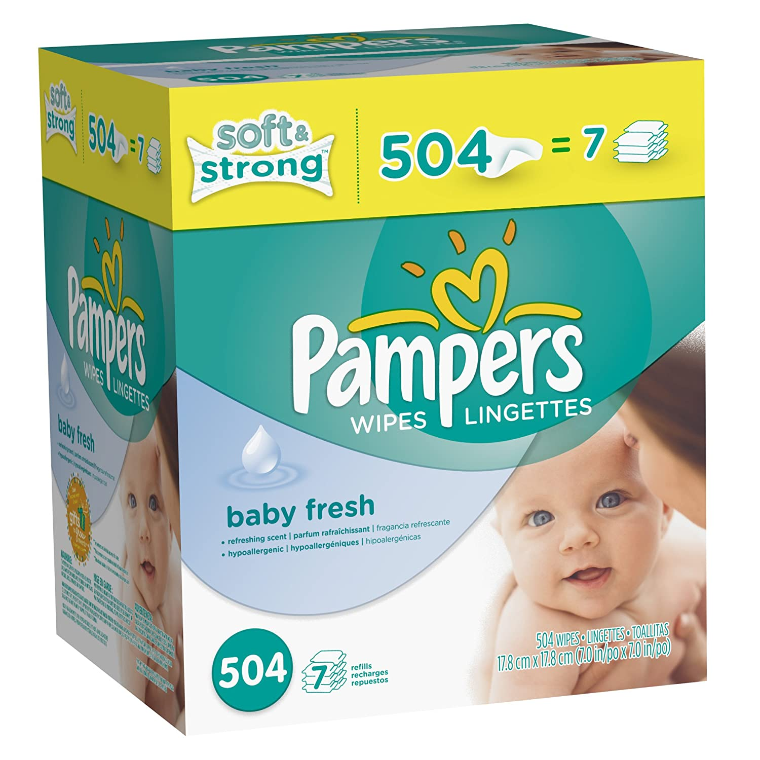 Pampers Softcare Baby Fresh Wipes 7x box, 504 Count $10