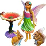 Mood Lab Fairy Garden Kit - Miniature Figurines & Accessories - Hand Painted Flower Set of 4 pcs - for Outdoor or House Decor (Color: Colored, Tamaño: Small)