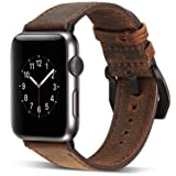 Watruer Apple Watch Band, 42mm Genuine Leather iwatch Strap Replacement Band with Stainless Metal Clasp for Apple Watch Series 3 Series 2 Series 1 Sport and Edition - Dark Brown (Color: Dark Brown, Tamaño: 42MM)