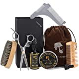 Beard Care Kit Beard Grooming Kit for Men Gift with Tea Tree Scented Beard Oil,Beard Brush,Beard Comb,Mustache Scissors,Beard Balm for Styling, Shaping & Growth Gift Set