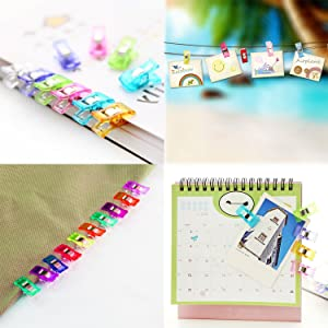 Wonder Clips, Kictero Craft Plastic Sewing Clips with Tin Box, All Purpose Craft Clips for Quilting Binding Clips, Paper Clips, Blinder Clips, Multi-Color (100 Small + 6 Large)