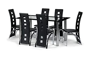 6 Seater Black Glass Dining Room Table Set with 6 Faux Leather Chairs Chrome New       reviews and more information