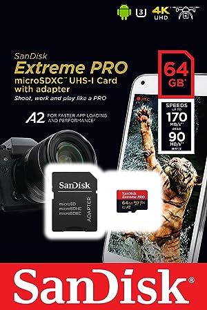 SanDisk Extreme Pro MicroSDXC UHS-I U3 A2 V30 64GB + Adapter