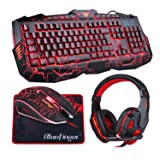 BlueFinger Backlit Gaming Keyboard Mouse Combo with LED Gaming Headset Over-Ear Headphone 40mm Speaker Driver + Gaming Mouse Mat (Color: Red)