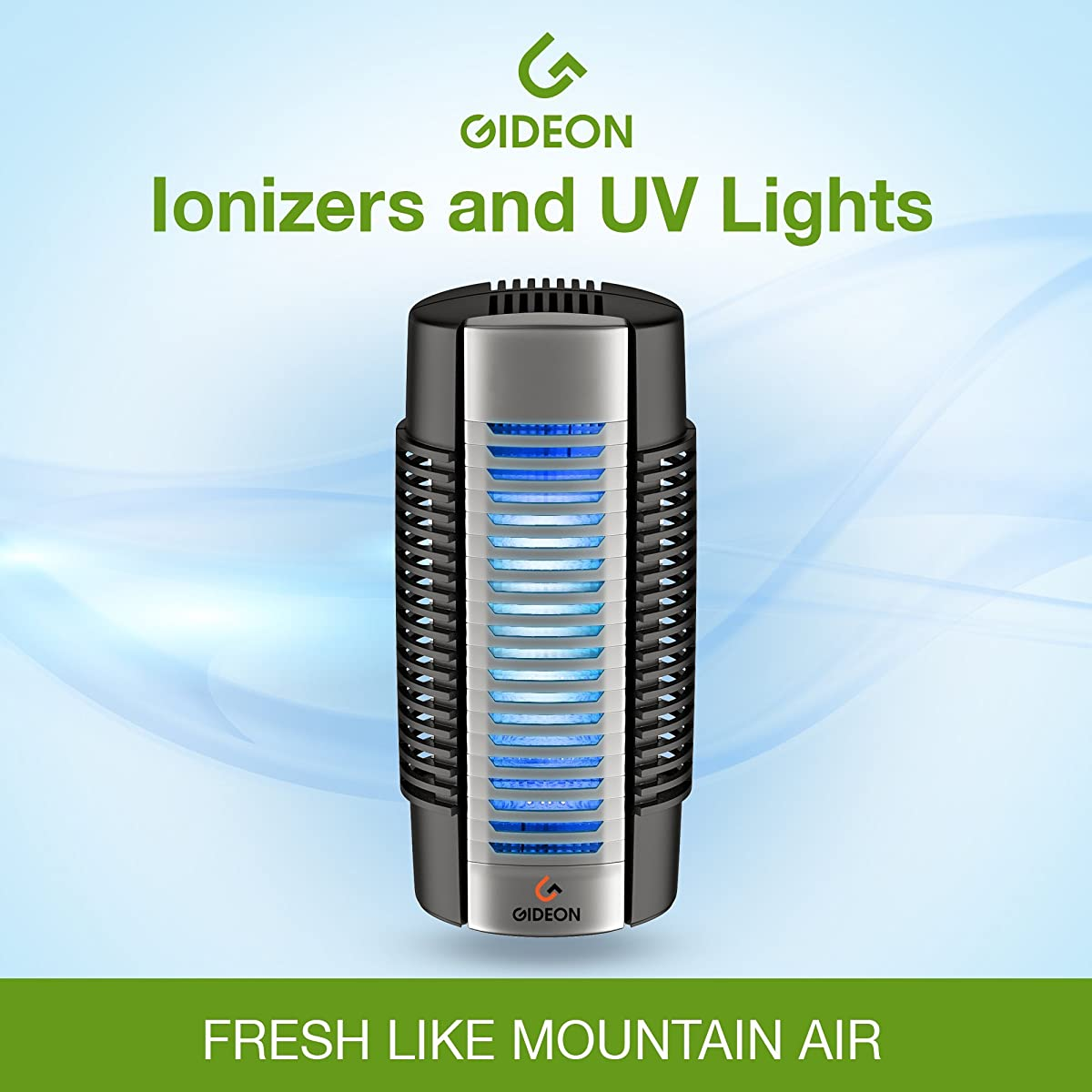Gideon Electronic Plug-in Air Purifier with UV Air Sanitizer, Ion Purifier and Fan – Permanent Filter - Eliminates all germs, odors, allergens and pollutants