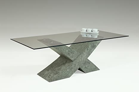 Apollo 920014 Couchtisch Xaver, Glasplatte ESG, 120 x 60 x 42 cm, dekor betonoptik
