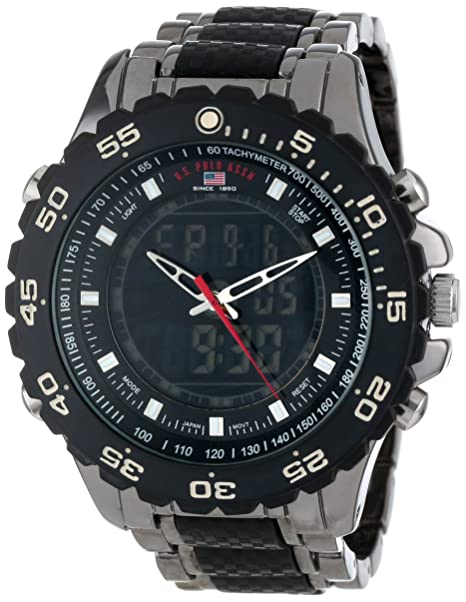 U-S-Polo-Assn-Sport-Men-s-US8170-Black-and-Gunmetal-Ana-Digi-Bracelet-Watch