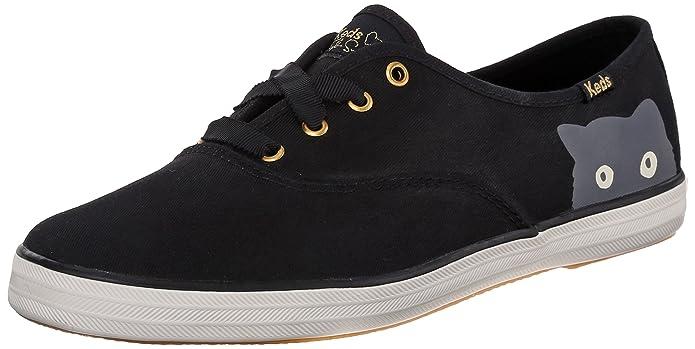 Keds Women's Taylor Swift Sneaky Cat Fashion Sneaker, Black, 8 M US