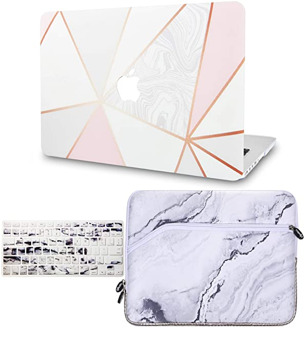 KECC Laptop Case for New MacBook Air 13 Retina (2019/2018, Touch ID) w/Keyboard Cover + Sleeve Plastic Hard Shell Case A1932 3 in 1 Bundle (White Marble with Pink Grey 2) (Color: White Marble with Pink Grey 2 + Sleeve + Keyboard Cover, Tamaño: A1932 Mac Air 13 Retina (2019/2018,Touch ID))