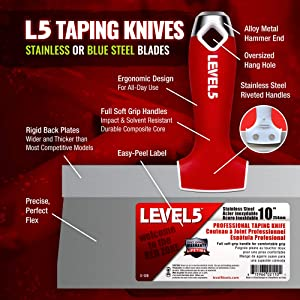 14-inch Soft-Grip Stainless Steel Taping Knife - LEVEL5 | Pro-Grade | Metal Hammer End| 5-138 (Tamaño: 14)
