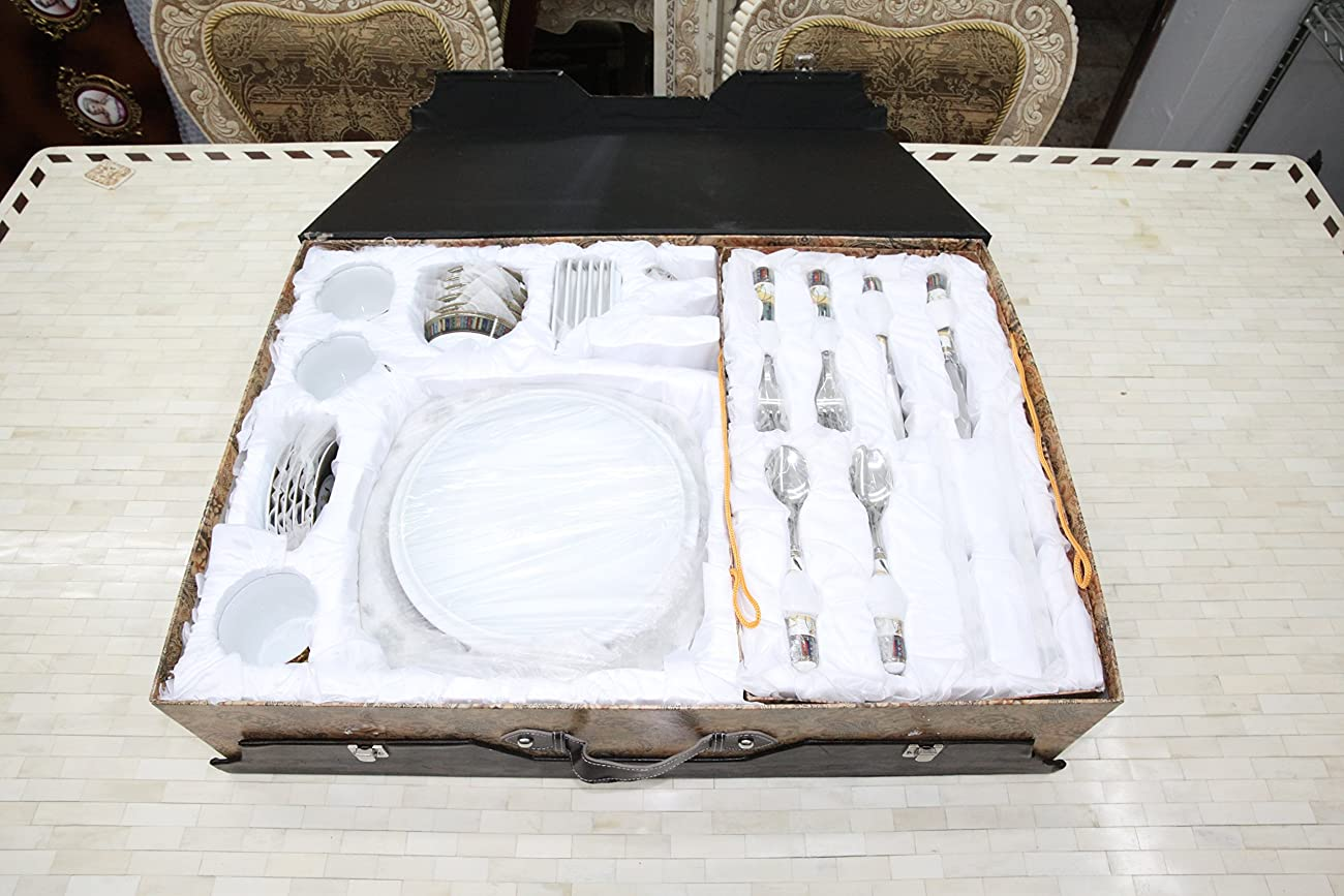 Royal Porcelain Greek Key Horse Cheval 75-pc Large Dinner and Sushi set, Service for 6, Vintage Luxury dinnerware banquet set in a case 6