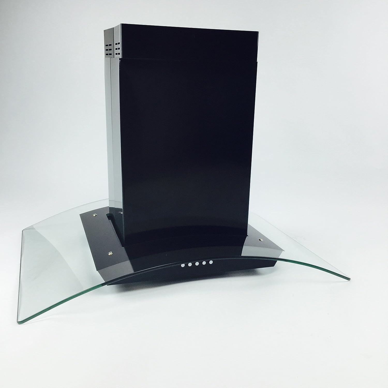 "Eureka 30"" European Style Glass Black Island Mount Range Vent Hood"