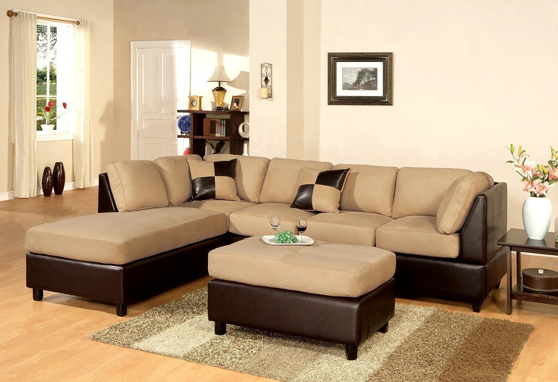 Superb Huntington 3 Pcs Sectional Sofa Set W/ Ottoman Reversible In Hazelnut Color