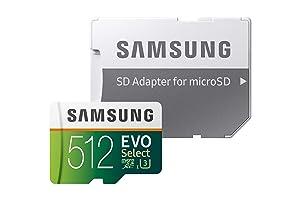 Samsung 512GB 100MB/s (U3) MicroSD Evo Select Memory Card with Adapter (MB-ME512GA/AM) (Tamaño: 512 GB)