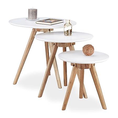 Relaxdays Beistelltisch 3er Set, Tischbeine aus Walnuss-Holz, weiße Tischplatte 50, 40 und 32 cm, im nordischen Design, weiß / natur