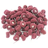 PHYHOO 80Pcs Fine Abrasive Wheel Brush for Dremel&foredom Rotary Tools 2.35mm (Color: red)