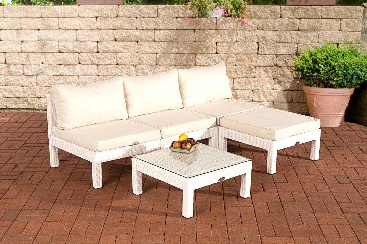 CLP Gartengarnitur FIJI aus Aluminium & Polyrattan, Farbwahl (3er Sofa + Hocker + Tisch 63 x 63 cm inkl. Polstern & Kissen) weiß