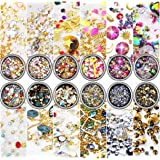 editTime 12 Wheels Mixed Sparkle Nail Art Rhinestones Diamonds Crystals Beads Artificial Pearls and Gold Silver Nail Studs Gems Metal Rivets Charms Hollow Moon Star Shaped (black) (Color: black)