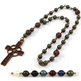 Anglican Prayer Beads with Dark Green Swarovski Pearls and Celtic Cross in Antique Copper. Anglican Rosary, Pearl Prayer Beads, Custom Rosary (Color: Dark Green)