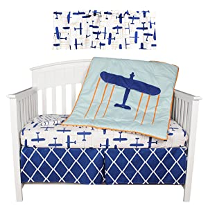Kidsline blue airplane globetrotter crib bedding collection - Airplane baby bedding sets ...