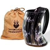 Norse Tradesman Genuine Viking Drinking Horn Mug - 100% Authentic Beer Horn Tankard w/ Rosewood Bottom and Burlap Gift Sack | 24 Ounces |