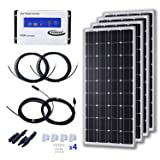 KOMAES 400 Watts 24 Volts Monocrystalline Solar Starter Kit with 30A PWM Charge Controller, 20ft Tray Cable, 20ft MC4 Connectors, Mounting Z Brackets (Tamaño: 4pcs 30A PWM Kit)