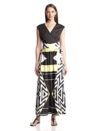 Ellen Tracy Women's Aztec Print Maxi Wrap Dress, Black/Yellow/Ivory, 2