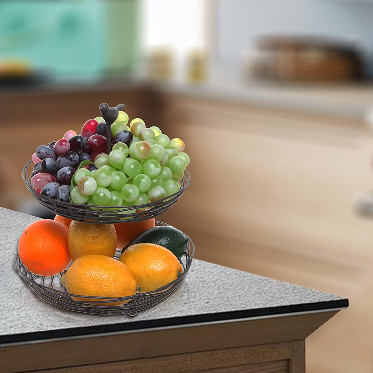 Black Metal Bird Nest Design 2 Tier Kitchen Produce & Fruit Basket / Decorative Display Stand - MyGift