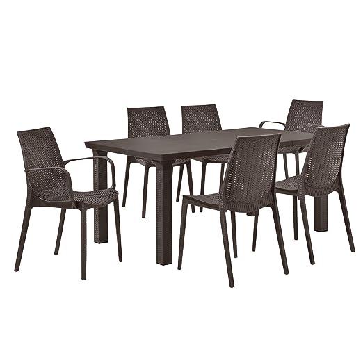 [casa.pro]® Juego de muebles de jardín mesa con 6 sillas - efecto ratán - set muebles jardín marrón