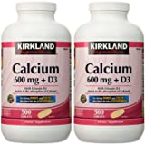Kirkland Signature Calcium 600 mg + D3 For Strong Bones and Teeth 500 Tablets Each (PACK OF TWO) (Tamaño: Pack of 2)